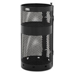 "Rubbermaid Towne Pole Waste Receptacle With Wall Mount, 10 Gal, Black, 13"" Diameter"