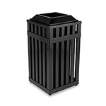 Rubbermaid Square Steel Outdoor Trash Can, 16 Gallon, Black