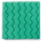Rubbermaid Microfiber Cleaning Cloth, Green, Case of 12