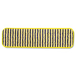 "Rubbermaid Microfiber Scrubber Pad, Vertical Polyprolene Stripes, 18"", 6/Carton, YEL"
