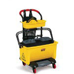 Rubbermaid Hygen Pedal-Wring Mini-Cart, Yellow