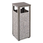 Rubbermaid Flat Top Waste Receptacle, Square, Steel, 12 gal, Green