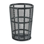 Rubbermaid Round Steel Outdoor Trash Can, 48 Gallon, Black