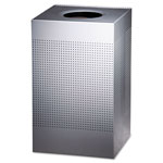 Rubbermaid Square Steel Outdoor Trash Can, 29 Gallon, Silver