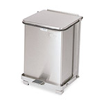 Rubbermaid Biohazard Step-On Metal Indoor Trash Can, 7 Gallon, Stainless Steel