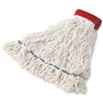 Rubbermaid Clean Room Mop Heads, Rayon, Looped-End, White, Large