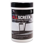 "Read Right/Advantus AllScreen Screen Cleaning Wipes, 6"" x 6"", White, 75/Tub"