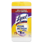 Lysol Dual Action Disinfecting Wipes, 7 x 8, White, 75/Can