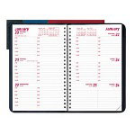 "Rediform Weekly Planner w/Hourly Appointments, Soft Cover w/Twin Wire Binding, 8"" x 5"", Black"