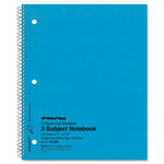 Rediform Wirebound 3 Subject Notebook, 3 Hole, College/Margin Rule, 11x8 1/2, 150 Sheets