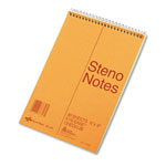 Rediform Standard Gregg Ruled Spiral Steno Book, 6x9, 80 Green Sheets/Book, Brown Cover