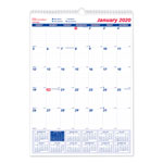 Brownline One Month Per Page Twin Wirebound Wall Calendar, 12 x 17, 2018