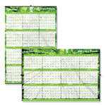 Blueline Yearly Laminated Wall Calendar, 36 x 24, Green, 2018