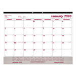 Brownline Monthly Desk Pad Calendar, 22 x 17, White/Maroon, 2019