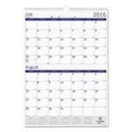 Blueline DuraGlobe Monthly Wall Calendar, Two Months/Page, 12 x 17, Academic, 2017-2018