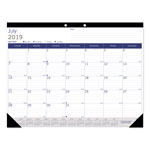 Blueline Academic Desk Pad Calendar, 22 x 17, White/Blue/Gray, 2017-2018