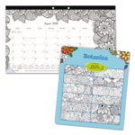 Blueline Academic DoodlePlan Desk Pad Calendar w/Coloring Pages,17 3/4 x 10 7/8,2017-2018