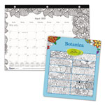 Blueline Academic DoodlePlan Desk Pad Mini Calendar w/Coloring Pages, 11x8 1/2, 2017-2018