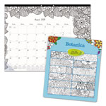 Blueline Academic DoodlePlan Desk Pad Calendar w/Coloring Pages, 22 x 17, 2017-2018
