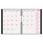 "Brownline Monthly Planner,14 Month,2PPM,Hard Cover,8-7/8""x7-1/8"",Black"