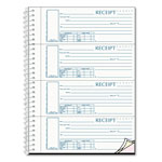 Rediform Spiralbound Unnumbered Money Receipt Book, 7 x 2 3/4, Three-Part, 120 Sets/Book