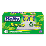 Hefty Renew Recycled Kitchen & Trash Bags, 13gal, .9mil, 24 x 27 1/4, White, 45/Box