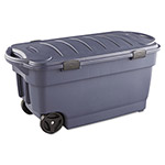 Rubbermaid Wheeled Storage Box, 45gal, Dark Indigo Metallic