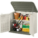 "Rubbermaid Large Plastic Horizontal Outdoor Storage Shed, 4'3"" w x 2' d x 3'6"" h"