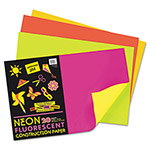 Riverside Paper Neon Construction Paper, 76 lbs., 12 x 18, Assorted, 20 Sheets/Pack