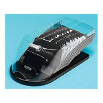 Rolodex Punched Metal & Wood Vcard Covered Tray, Black/Gun Metal