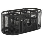 Eldon Mesh Pencil Cup Organizer, 4 Compartments, Steel, 9 1/3 x 4 1/2 x 3 9/10, Black