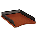 Eldon Distinctions Self-Stacking Legal Desk Tray, Metal/Wood, Black/Rich Cherry