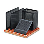 Eldon Distinctions Desk Organizer, Metal/Wood, 5 7/8 x 5 7/8 x 4 1/2, Black/Cherry