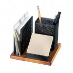 Rolodex Desk Organizer, Rich Cherry Wood/ Black Metal