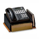 Rolodex Distinctions Wood and Punched Metal Telephone Stand, Black/Cherry Wood
