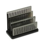 Rolodex Mini Sorter, Three Sections, Metal/Wood, 7-1/2W x 3-1/2D x 5-3/4H, Black/Silver