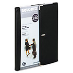 Rolodex Faux Leather Active View™ Business Card Book, 240 Card Capacity, Black/Silver