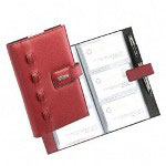 Rolodex Business Card Book, Weave, 72 Cap., Faux Leather, Red