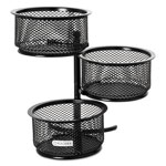 Rolodex Wire Mesh Three Tier Swivel Tower, Black, 3 3/4w x 6 1/2d x 6h