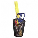 Rolodex Wire Mesh Jumbo Pencil Holder, Black, 4 3/8 dia. x 5 1/8h