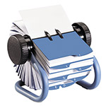 Rolodex Rotary Business Card File, 200 Sleeves, 400 Card Cap., 24 Guides, Blue
