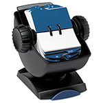 Rolodex Covered Swivel Base Rotary File, 500 2 1/4x4 Cards, 24 Guides, Black/Smoke Cover
