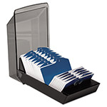 Rolodex Covered Card File, 500 2 1/4x4 Cards, 24 A Z Guides, Black Plastic