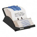Rolodex Adjustable Plastic Card File, 500 2 1/4x4 Cards, 24 A Z Guides, Black