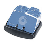 Rolodex Open Card File, 125 2 1/4 x 4 Cards/6 Guides, Black Plastic