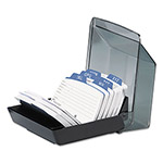 Rolodex Covered Card File, 250 2 1/4 x 4 Cards/9 Guides, Black Plastic