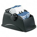 Rolodex Covered Plastic Rotary Card File, 500 1 1/2x2 3/4 Cards, 24 Guides, Black