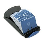 Rolodex Open Tray Business Card File, Two 2-5/8 x 4 Cards/Sleeve, 100 Sleeves, Black