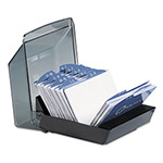 Rolodex Business Card File, 50 Sleeves, 100 Card Capacity, Black/Smoke Cover