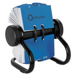 Rolodex Rotary Business Card File, 200 Sleeves, 400 Card Cap., 24 Guides, Black